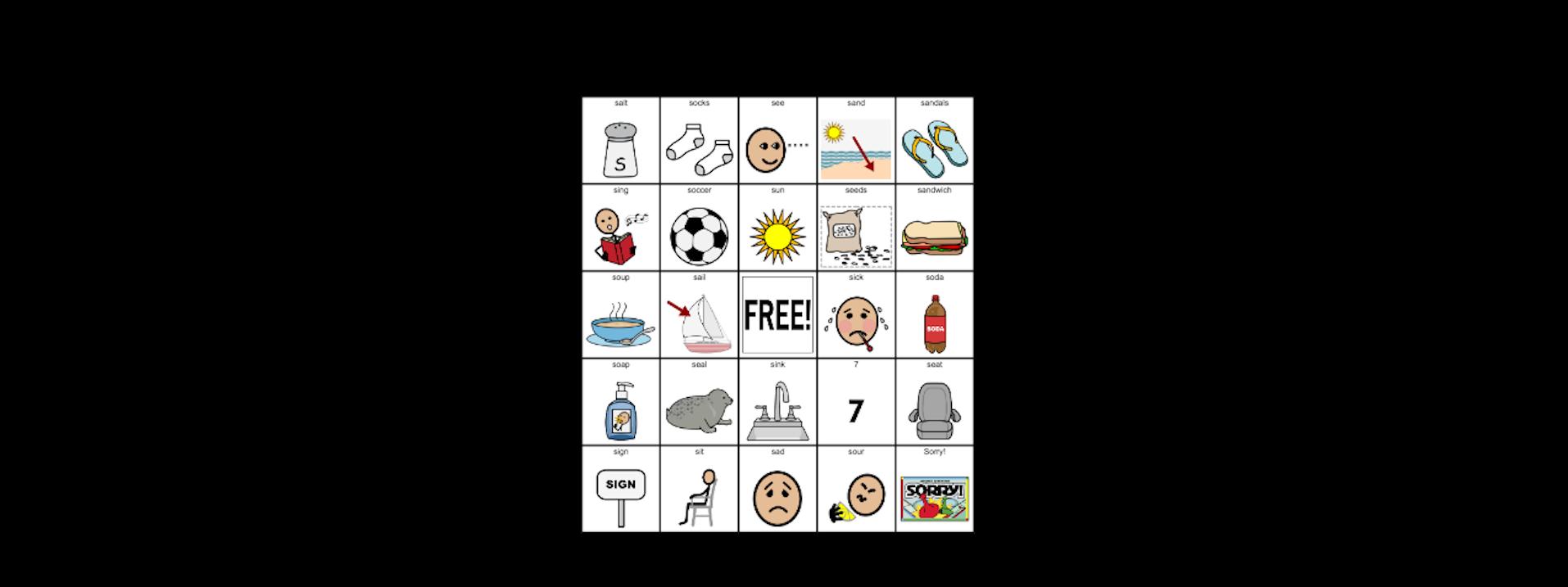 S Initial Position- Articulation Bingo