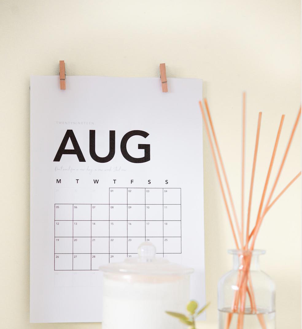 August Calendar Activities