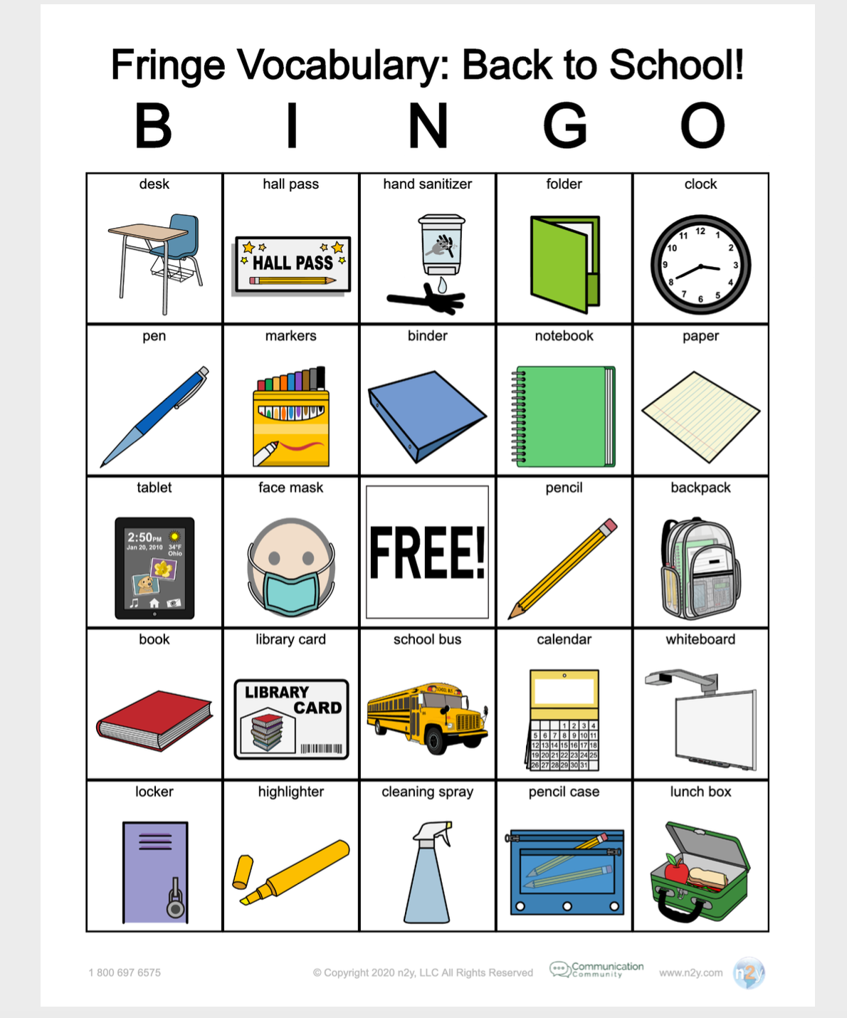 Fringe Vocabulary: Back to School Bingo