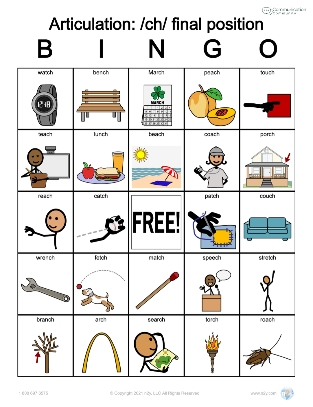 CH Final Position - Articulation Bingo