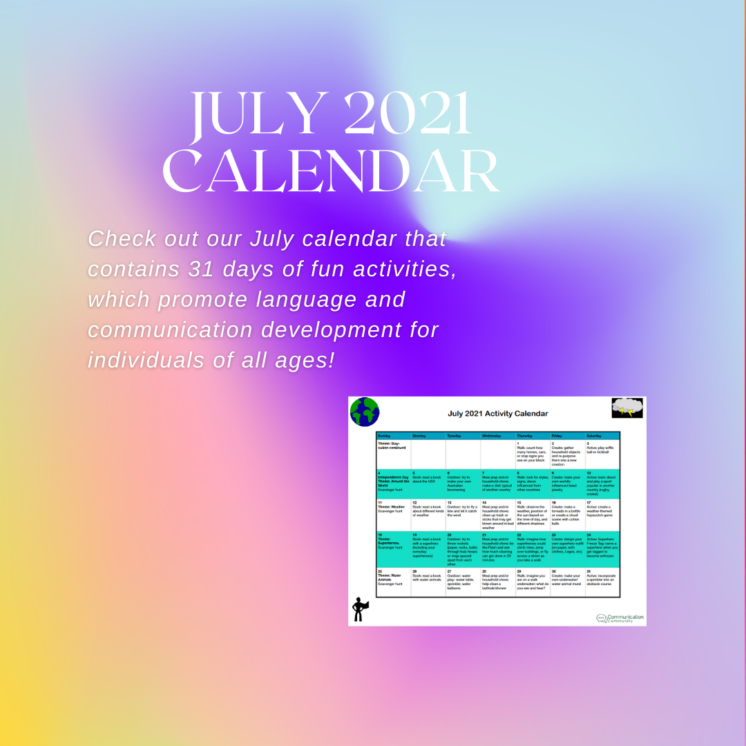 July Calendar Activities (2021)