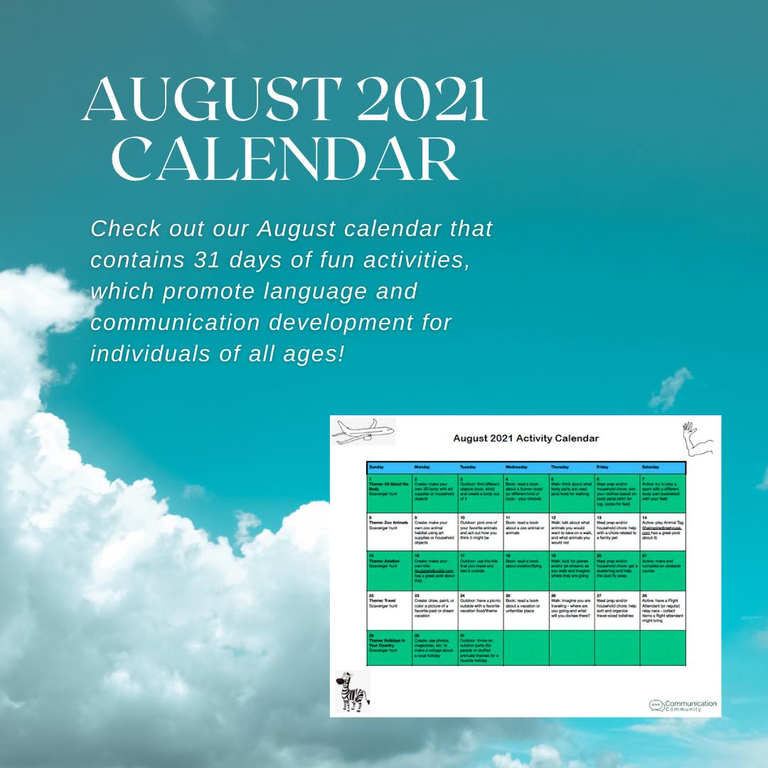 August Calendar Activities (2021)