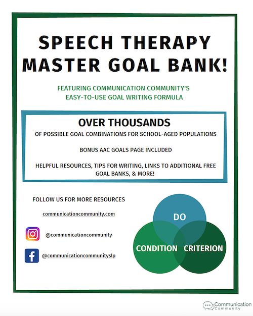 Speech Therapy Goal Bank for Measurable Treatment Goals: Best of Therapy Tools! August 2021